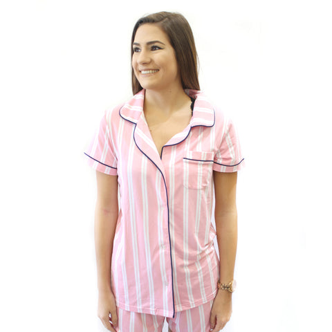 Sleep Top  in Pink Stripe