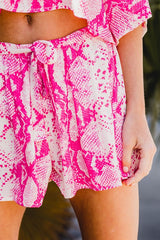 Tie-Waist Snake Printed Shorts (Multiple Colors)