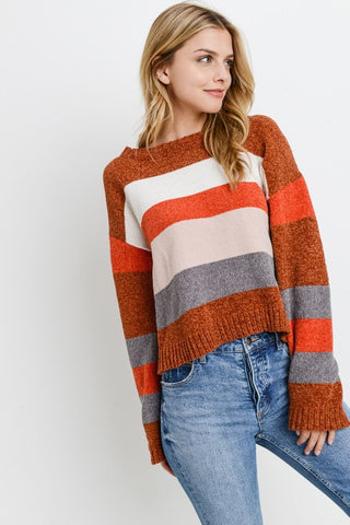 Orange Multi Striped Sweater