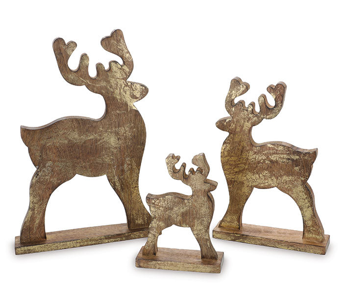 Wooden Deer with Gold Finish