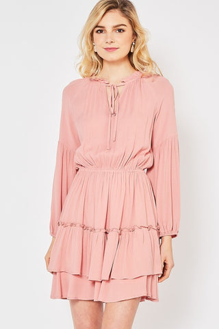 Blush Peasant Dress
