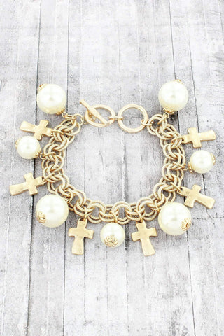 Pearl Cross Toggle Bracelet - Single Cross or Multiple Crosses