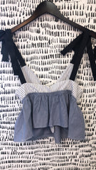 Two Tone Stripe Crop Top with Ruffle Trim and Tie Straps