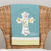 Believe Floral Cross Tea Towel