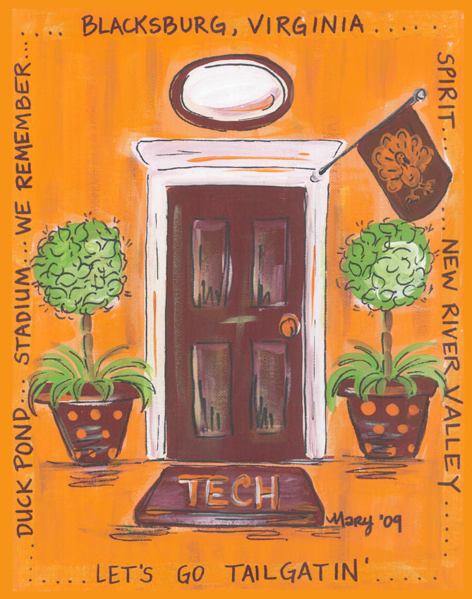 Virginia Tech Door Print