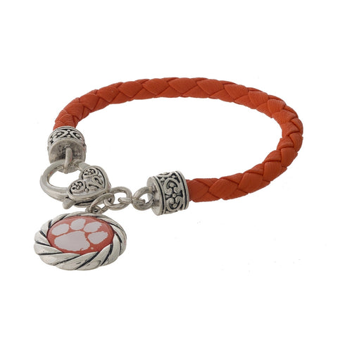 Faux Leather Bracelet with Paw Charm