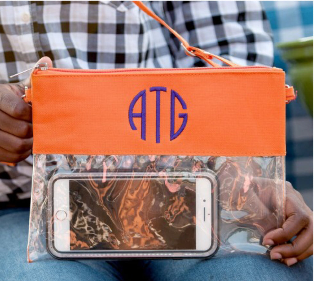 Orange or Purple Clear Wristlet/Crossbody