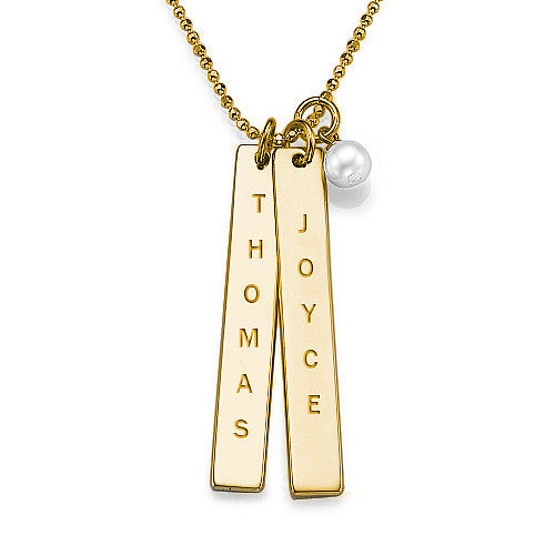 Double Bar Name Necklace w/pearl (silver or gold plated)