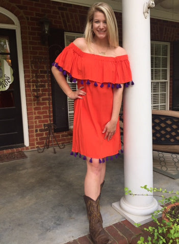 Monica Dress in Solid Orange with Purple Tassels