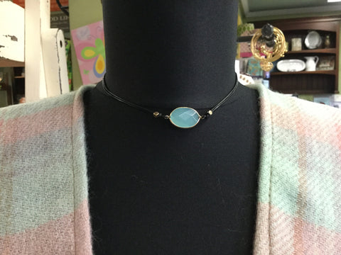 Jimma Natural Oval Stone Leather Choker - Turquoise