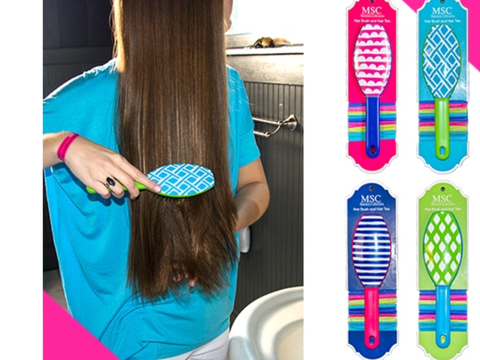 Hair Brush and Hair Ties Set (4 Colors)