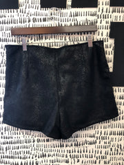 Snake Skin Print Faux Suede Shorts
