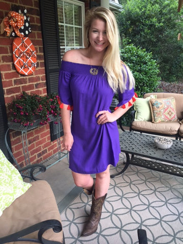 Michaela Dress in Solid Grape Tassled