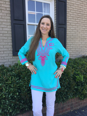 Trish Top in Solid Aqua with Pink