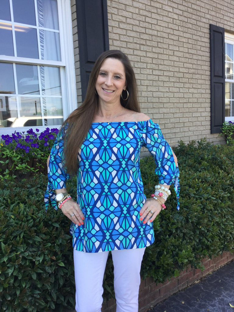 Laurel Top in Aegean Blue/Ocean Blue Mosaic