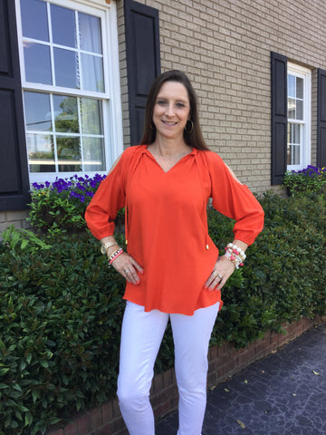 Penelope Top in Solid Orange