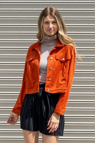 Orange Corduroy Button Down Jacket