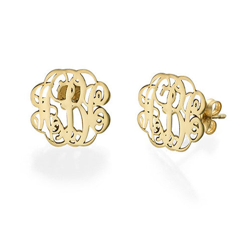 18K Script Stud Monogram Earrings
