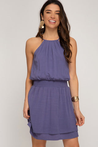 Sleeveless Textured Woven Dress With Smocked Waist (Multiple Colors)