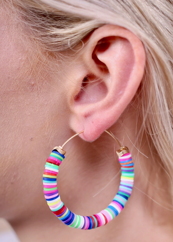 Multi-Colored Disc Hoop Earrings