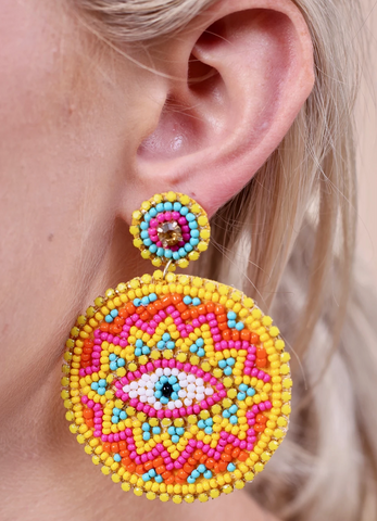 Embellished Circle Eye Earrings (Multiple Colors)