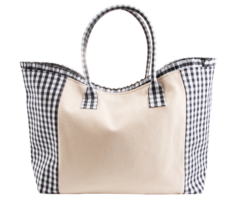 Black Gingham Weekender Bag