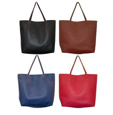 Pebble Grain Leather Bucket Tote