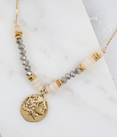 Half Beaded Necklace With Coin Pendant