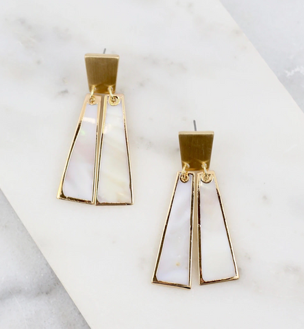 Mother of Pearl Double Bar Earrings