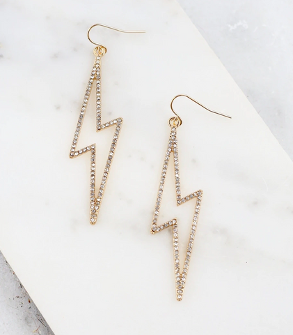 CZ Lined Lightning Bolt Earrings