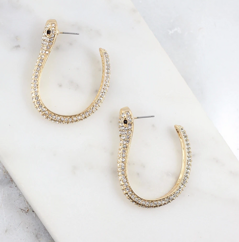 CZ Gold Snake Stone Hoops