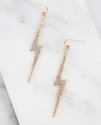 CZ Lightning Bolt Earrings