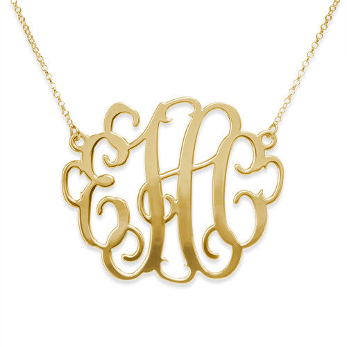 "2"" Script Split Chain Monogram Necklace (silver or gold plated)"