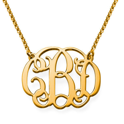 "1"" Split Chain Monogram Necklace (silver or gold plated)"