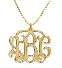 "1"" Script Pendant Mongram Necklace (silver or gold plated)"