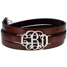 Leather wrap bracelet with monogram letters