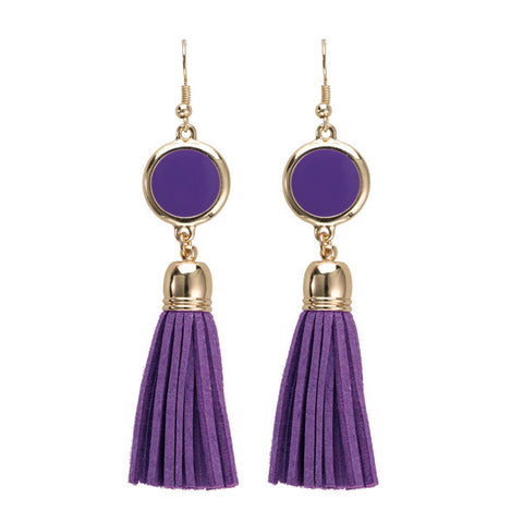 Enamel Disk Earring - Purple