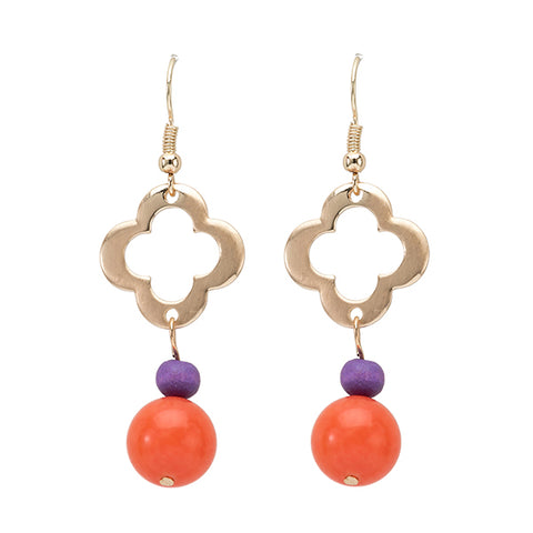 Clemson Clover Beaded Earring