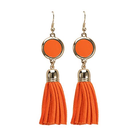 Enamel Disk Earring - Orange