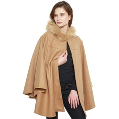 Faux Fur Trimmed Hooded Cape (black or tan)