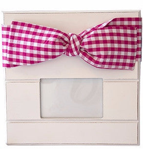 Pink Gingham Bow Frame