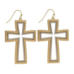 Cross Earrings (Gold or Silver)