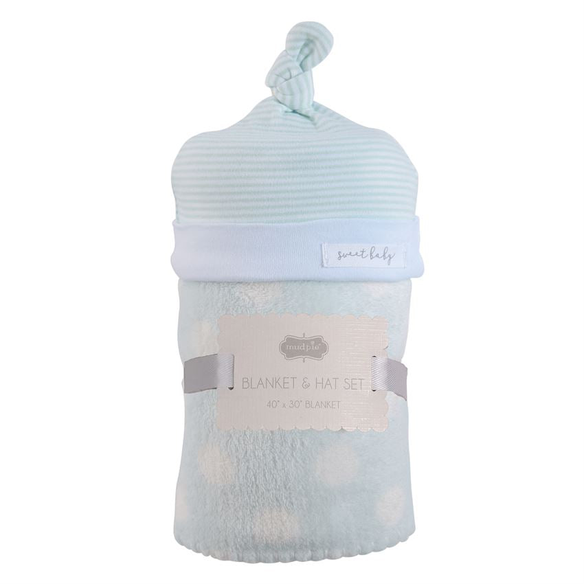 Boy's Baby Hat and Blanket Set