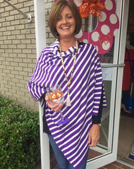 Striped Cotton Poncho (Orange or Purple)