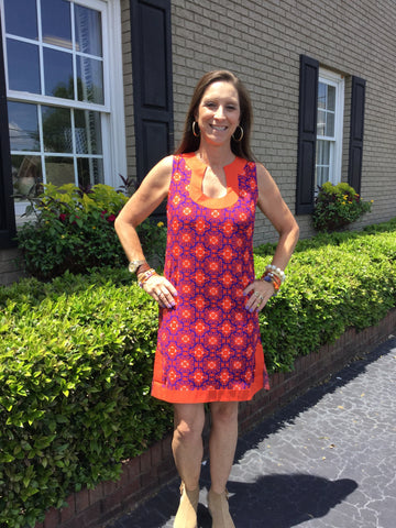 Tessa Dress in Orange/Purple Cayman