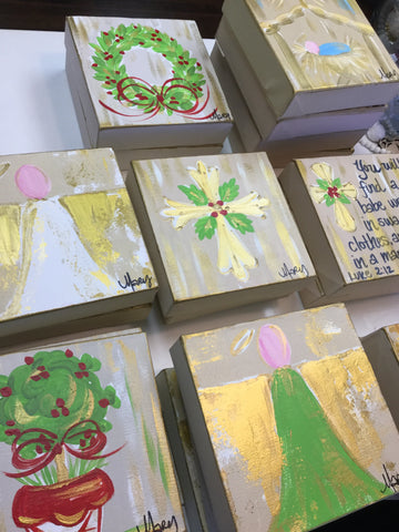 Hand Painted Christmas Canvas 6 x 6 (many options)