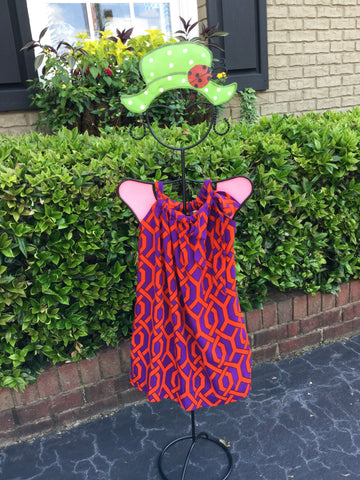 Lilla Dress in Purple/Orange Trellis