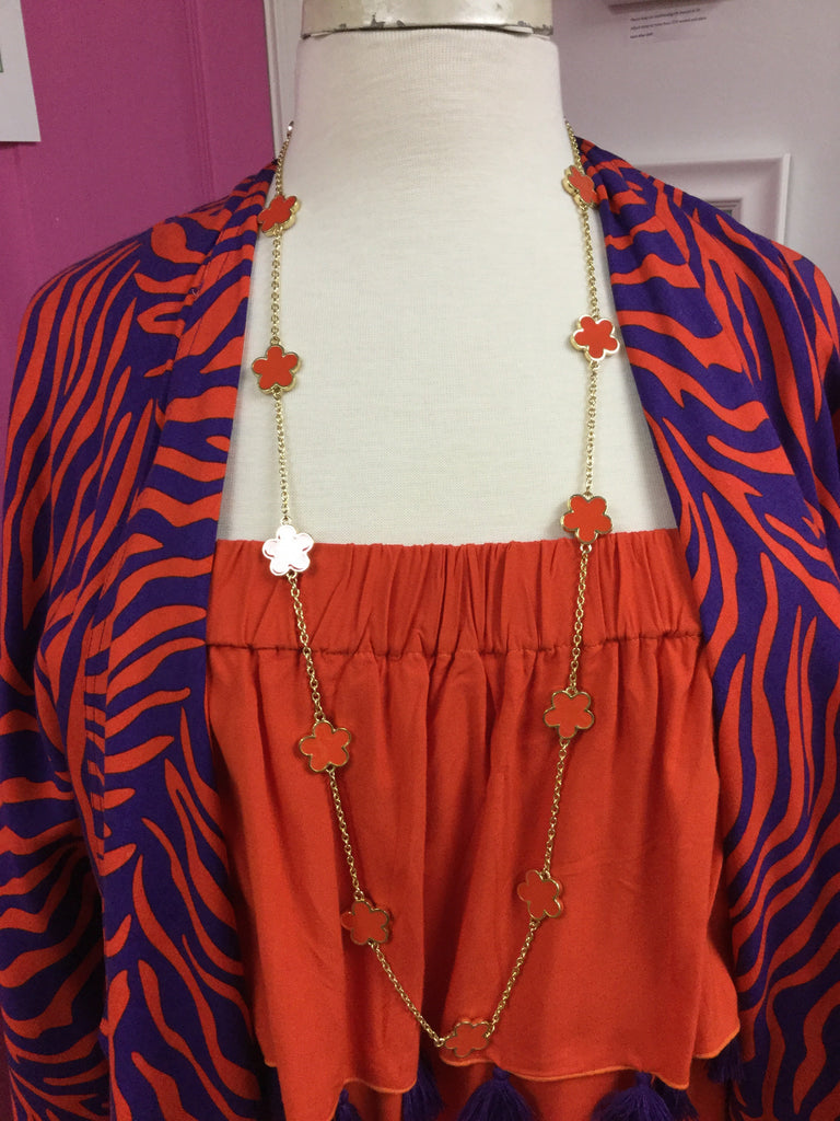 Long Chloe Necklace - Orange
