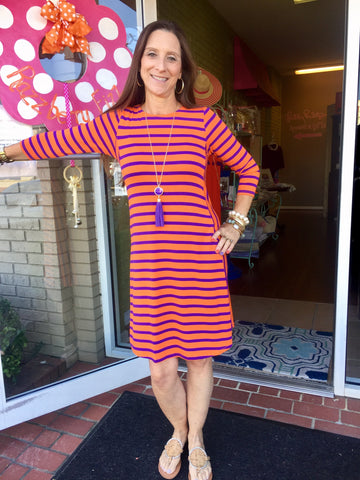 Striped Inset Dress in Orange and Purple