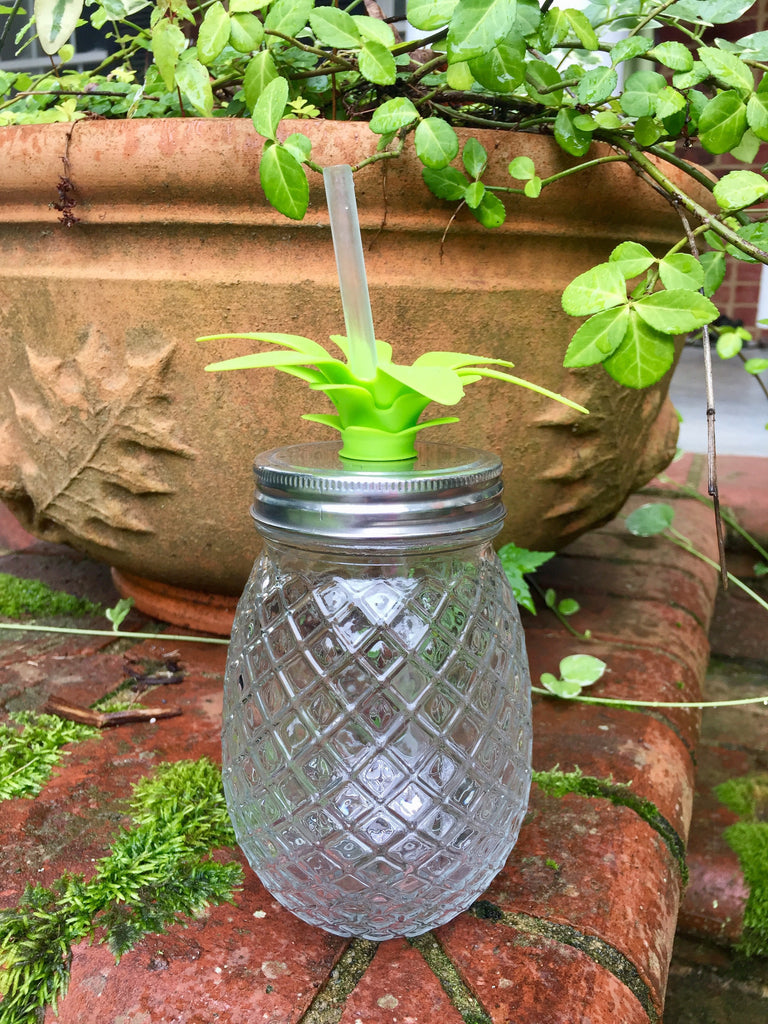 Clear Glass Pineapple Sipper with Straw